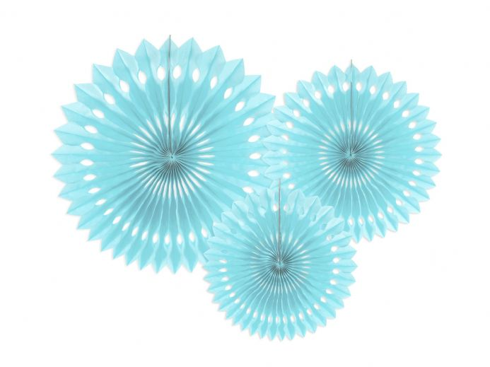 Sky Blue Tissue Paper Fans - Pack of 3